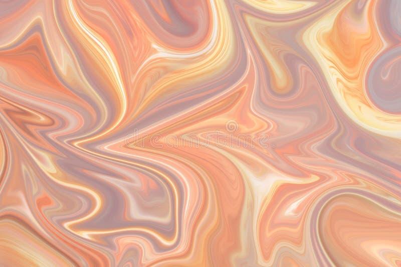 Upłynnia abstrakta wzór Z menchii, LightSalmon, LightPink I Koralowego grafika koloru forma sztuki, Cyfrowego tło Z Liquifying royalty ilustracja