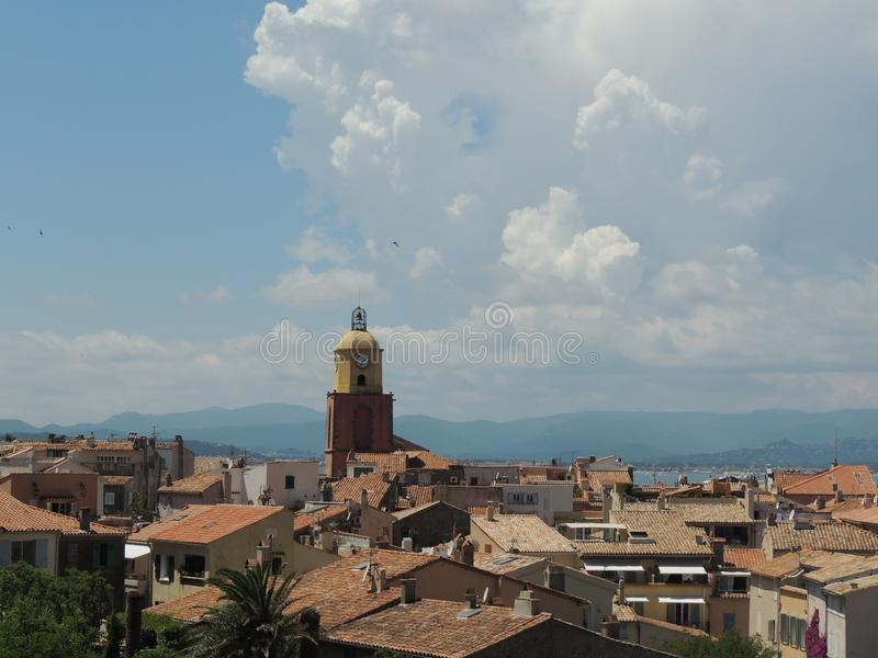 Up above view to Saint-Tropez, France, amazing look to the Church of Our Lady of the Assumption royalty free stock image