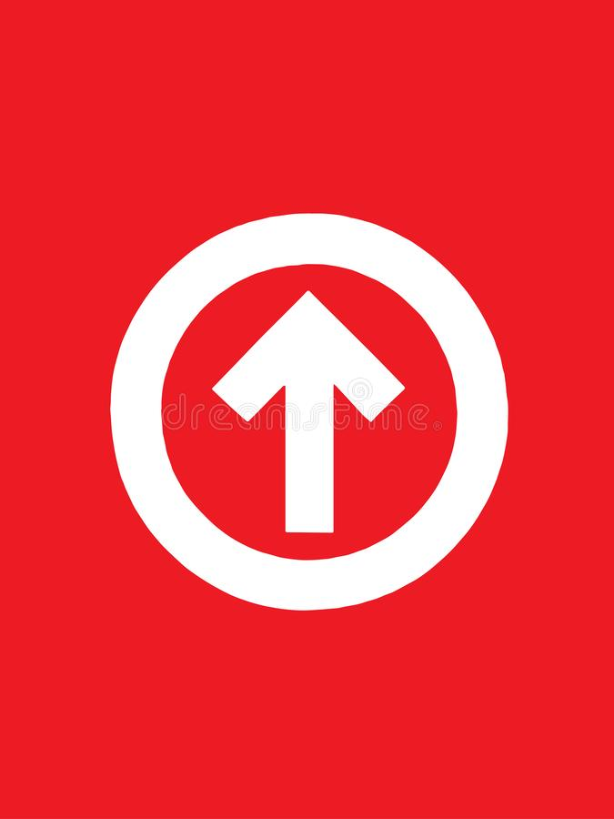 Up arrow in a circle icon in trendy design style. Up arrow icon isolated on red background vector illustration