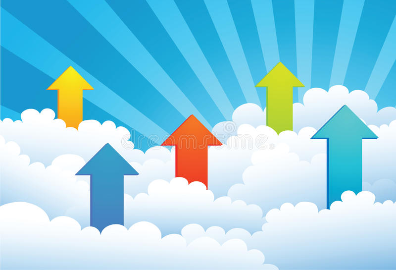 Up Arrow through cloud stock illustration