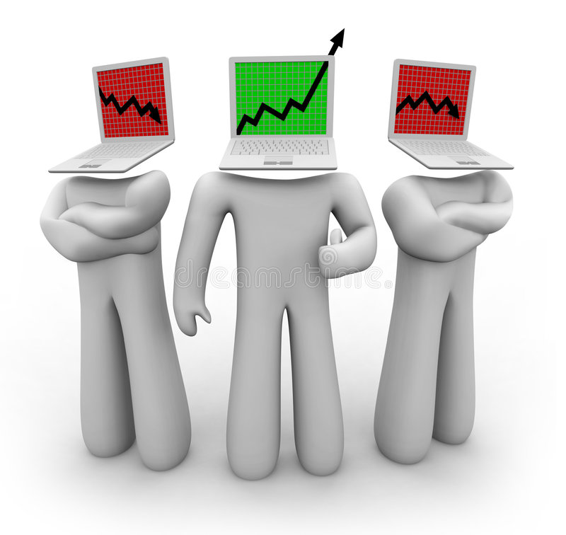 Up Arrow Among Down Arrows. One figure with a laptop head features an upward growth arrow while two others show down arrows vector illustration