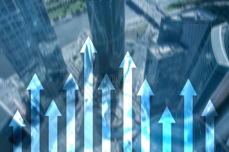 Up arrow graph on skyscraper background. Invesment and financial growth concept.  stock photos