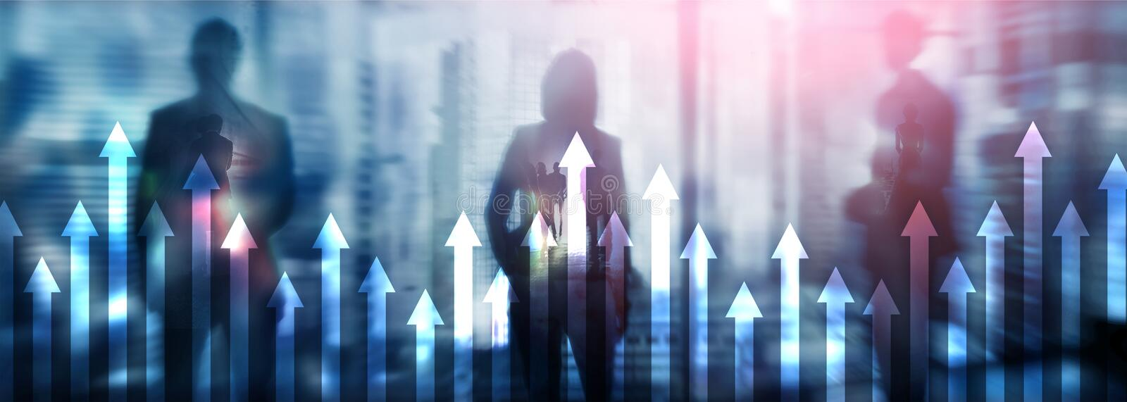 Up arrow graph on skyscraper background. Invesment and financial growth concept.  stock images