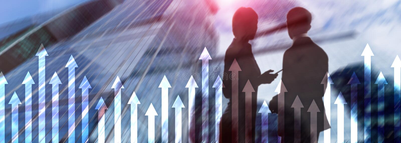 Up arrow graph on skyscraper background. Invesment and financial growth concept royalty free stock image