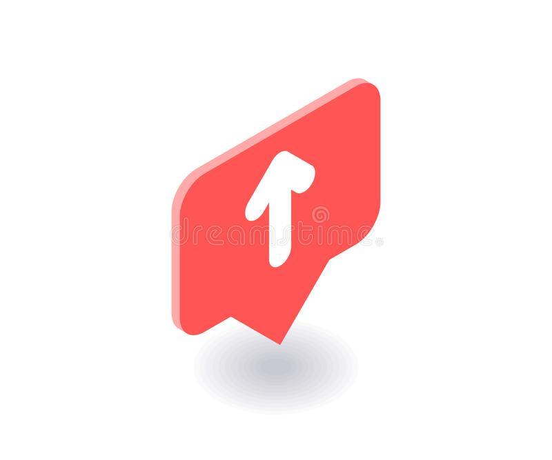 Up arrow icon, vector symbol in flat isometric 3D style isolated on white background. Social media illustration royalty free illustration