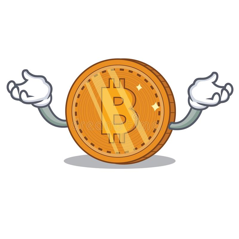 Up bitcoin coin character cartoon vector illustration