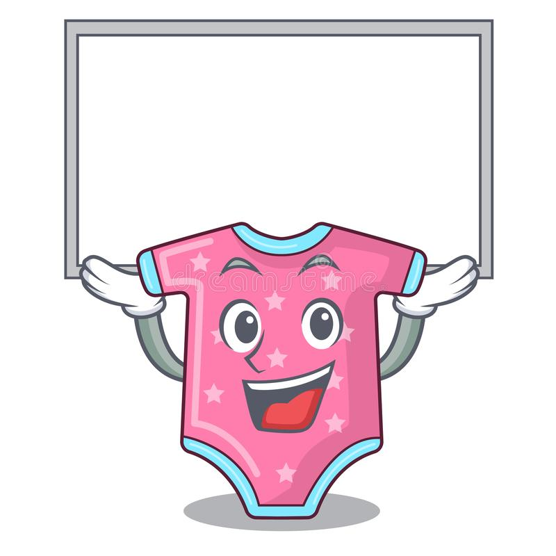 Up board character baby clothes hanging on clothesline. Vector illustration stock illustration