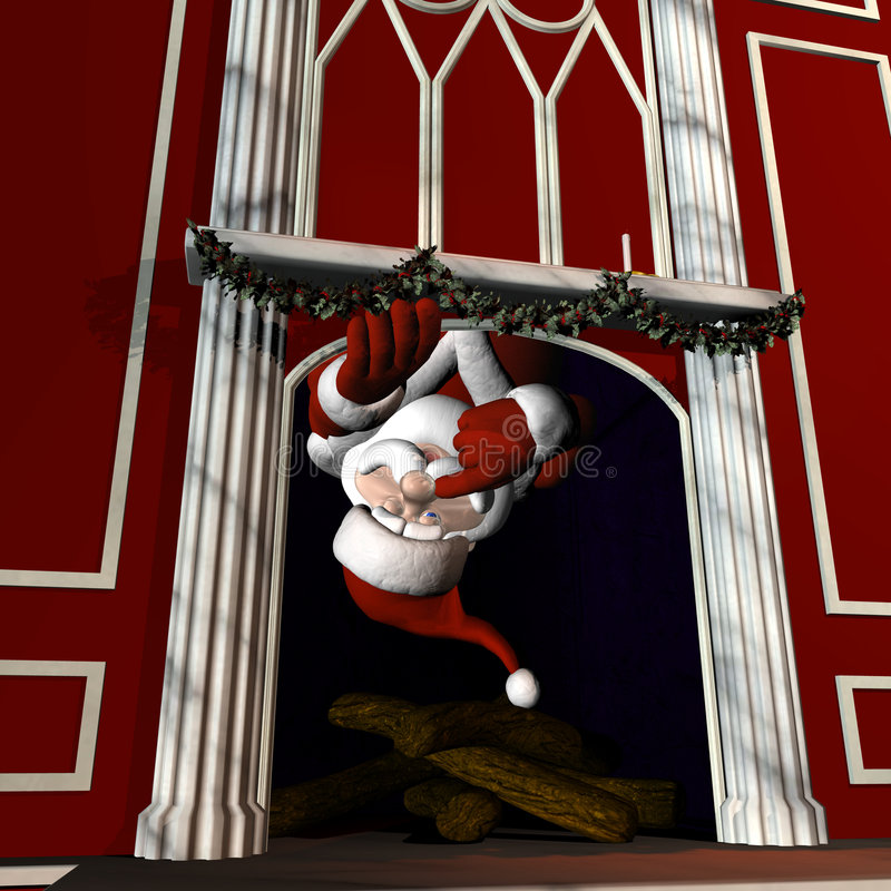 And up the chimney he rose. Santa using Magic to go up a chimney. With a wink and a finger next to his nose vector illustration