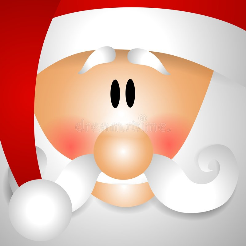 Up Close Face of Santa Claus Clip Art. A clip art illustration of the closeup face of Santa Claus complete with hat and rosey red cheeks