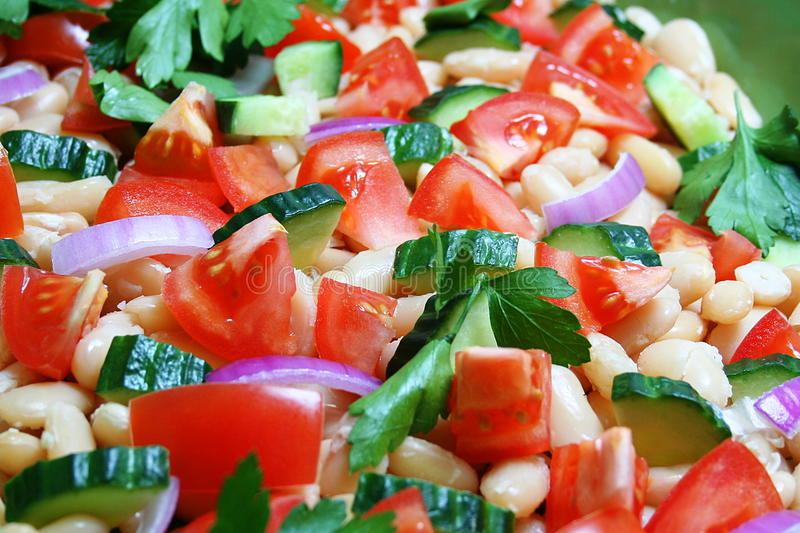 Up close with healthy salad royalty free stock images