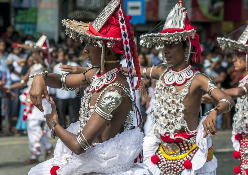 Up Country Dancers perform in Kandy. stock images