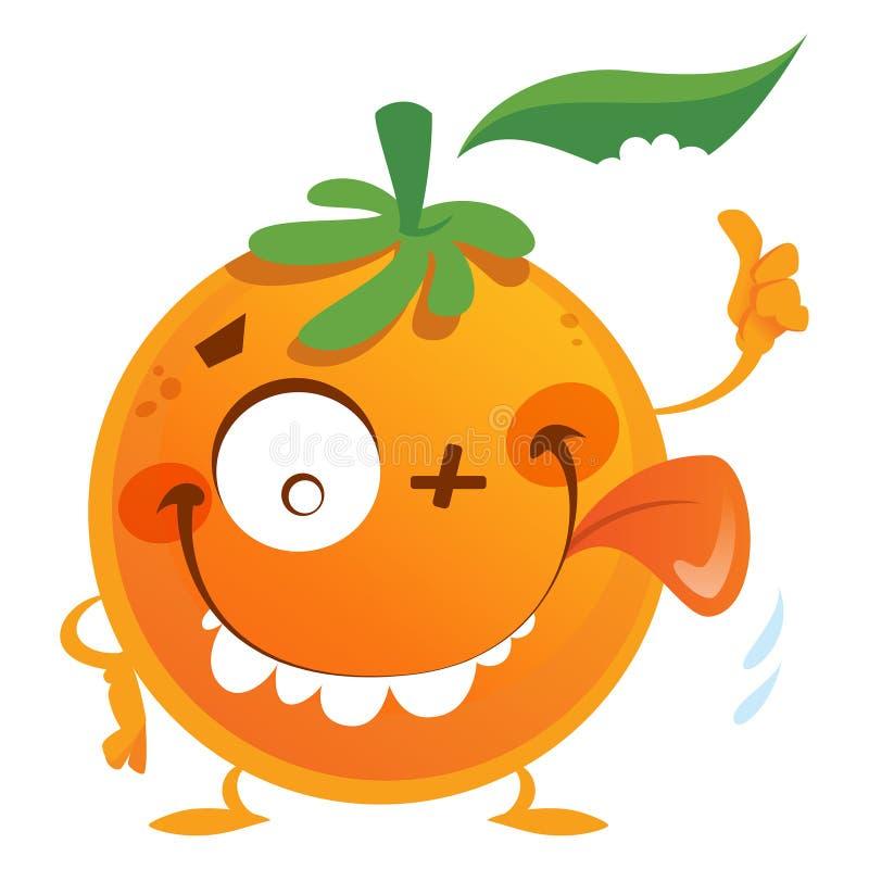 Up der orange Fruchtcharakter der verrückten Karikatur machend Daumen Geste stock abbildung