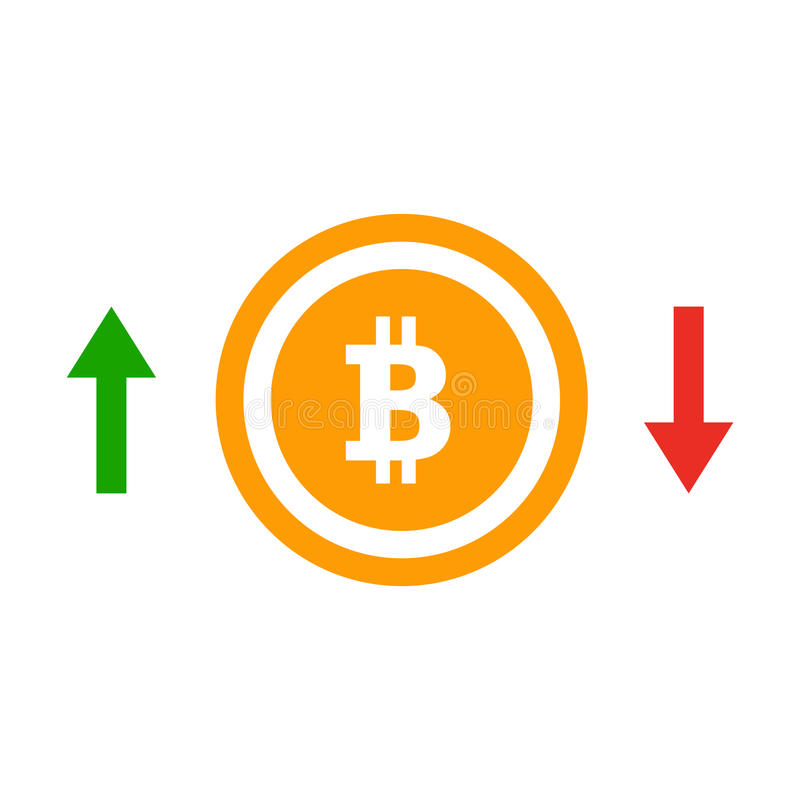 Up and down arrows bitcoin course flat icon. Concept of simple bitcoin badge vector illustration