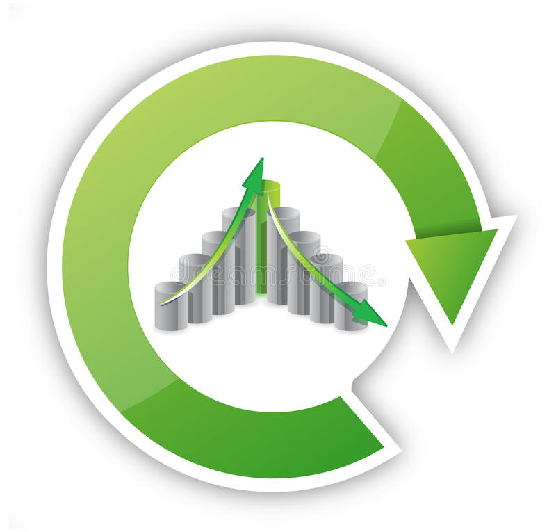 Up and down business cycle. Illustration design over white stock illustration