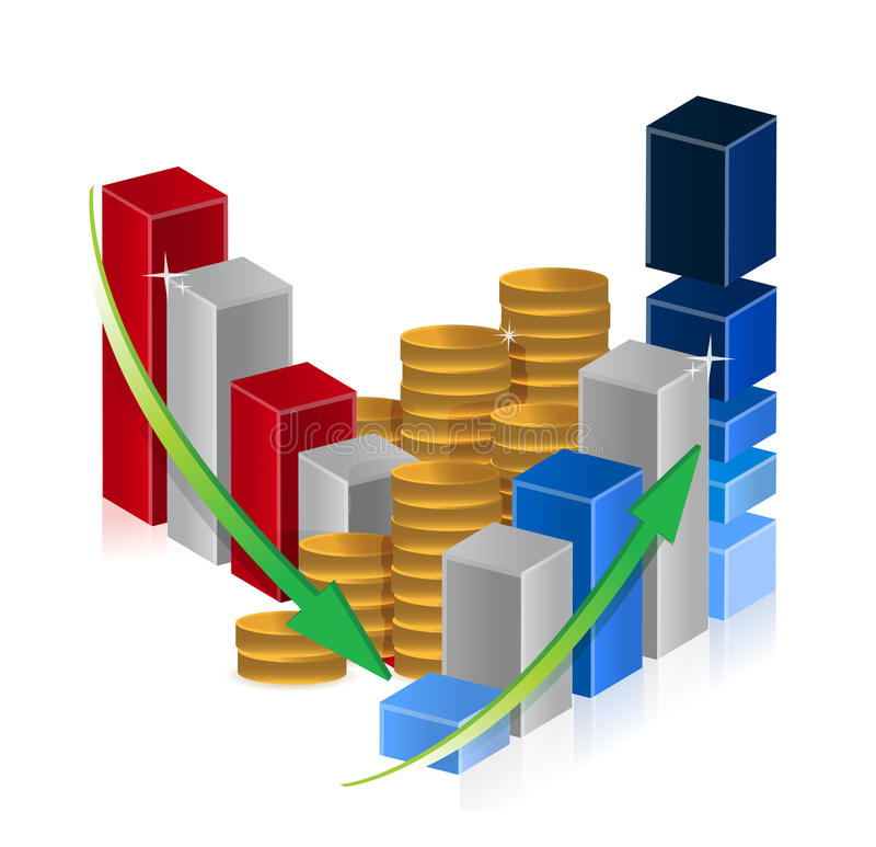 Up and down business graphs and coins. Illustration design over white vector illustration