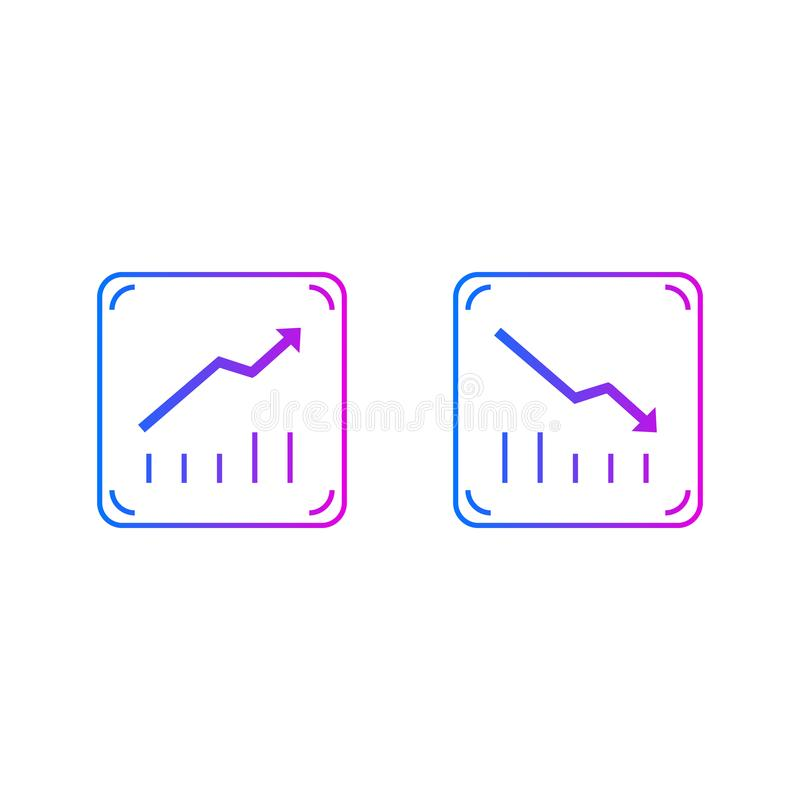 Up and down graphs vector illustration