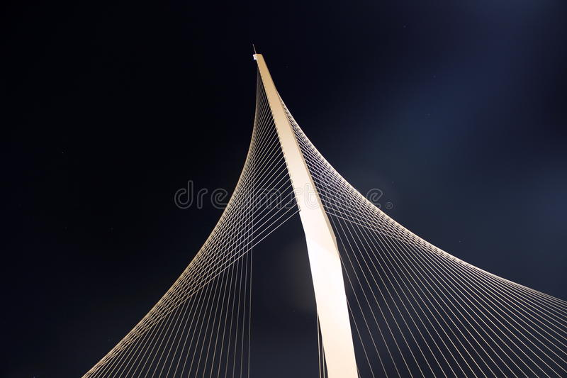 Up high, hanging bridge shot from below. royalty free stock images