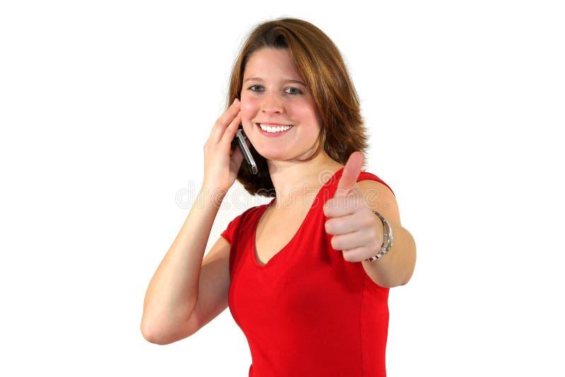 up le tum för celltelefon kvinnan royaltyfri foto