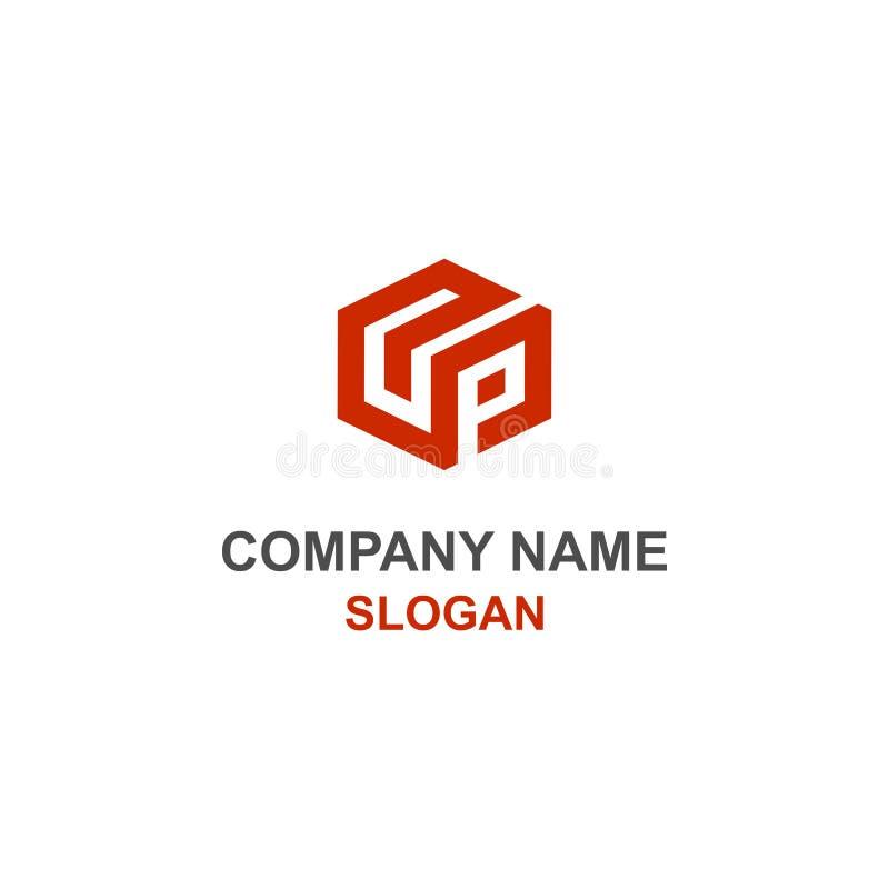 UP letter cube logo. royalty free illustration