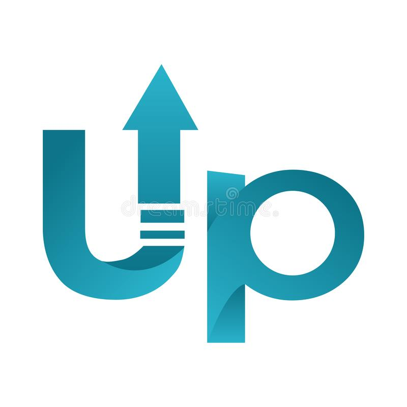 Up Letters with Arrow Word Text Logo Vector. Isolated royalty free illustration