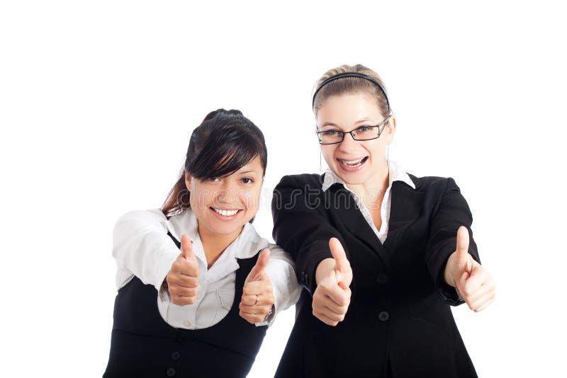 up lyckliga tum för affär kvinnor arkivfoton