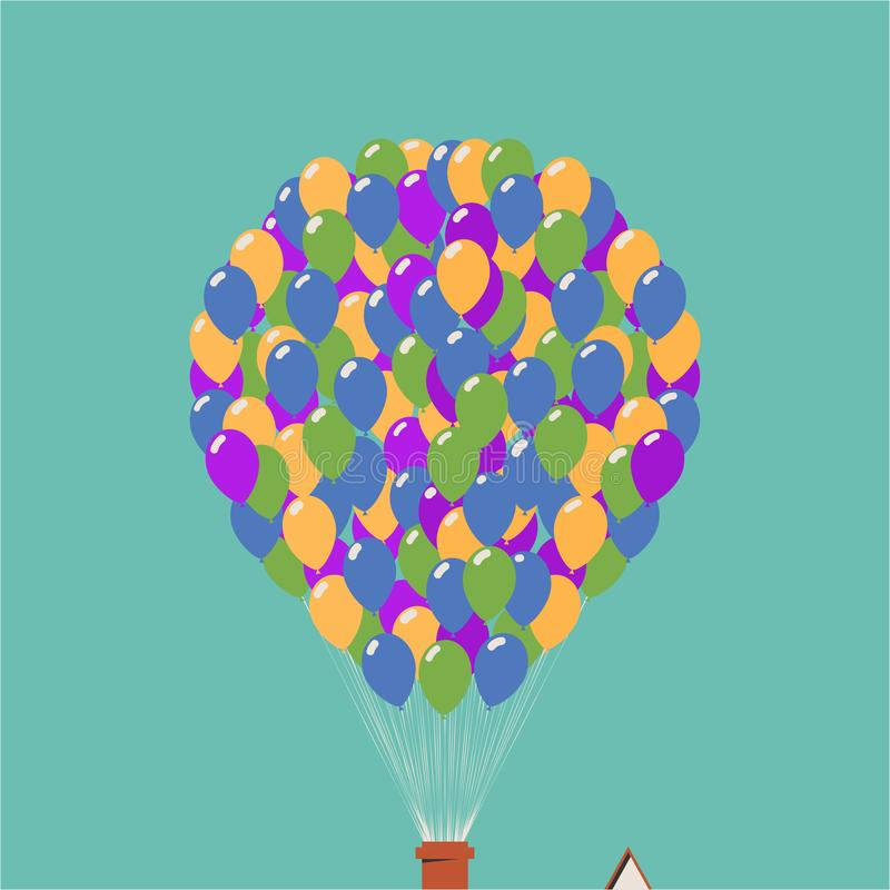 Up movie icon. House in the air on balloons. Vector illustration of dream