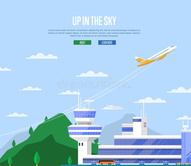 Up in the sky concept with airplane takeoff. Travel agency advertising, worldwide commercial airline poster. Modern international passenger air terminal with stock illustration