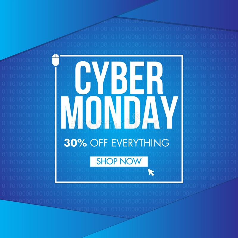 Up To 30% discount offer for Cyber Monday Sale on blue binary. stock illustration