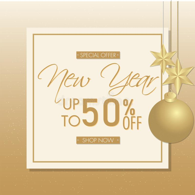 Up To 50% off for New Year Special Offer, Advertising poster design decorated with golden. vector illustration