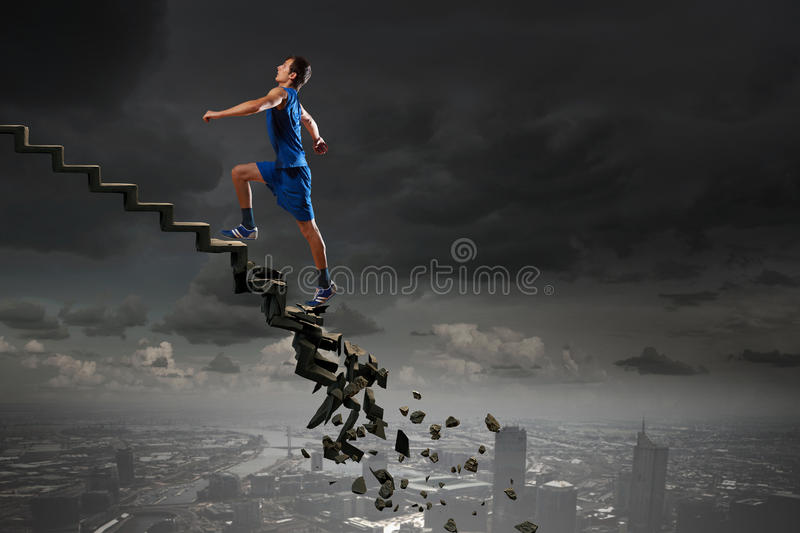 Up to top overcoming challenges stock images