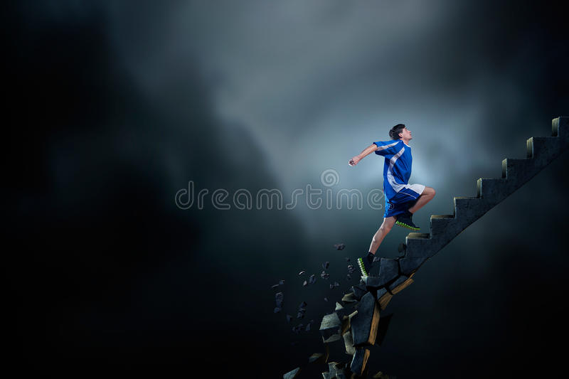 Up to top overcoming challenges stock photo