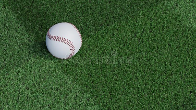 Up view of Baseball ball put on a well-cut lawn stock illustration