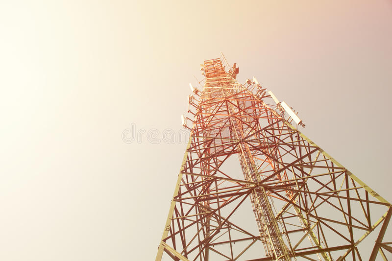 Up view mobile range antenna tower mast communication electricity radio reception news delivery send transmission tower wireless t royalty free stock image