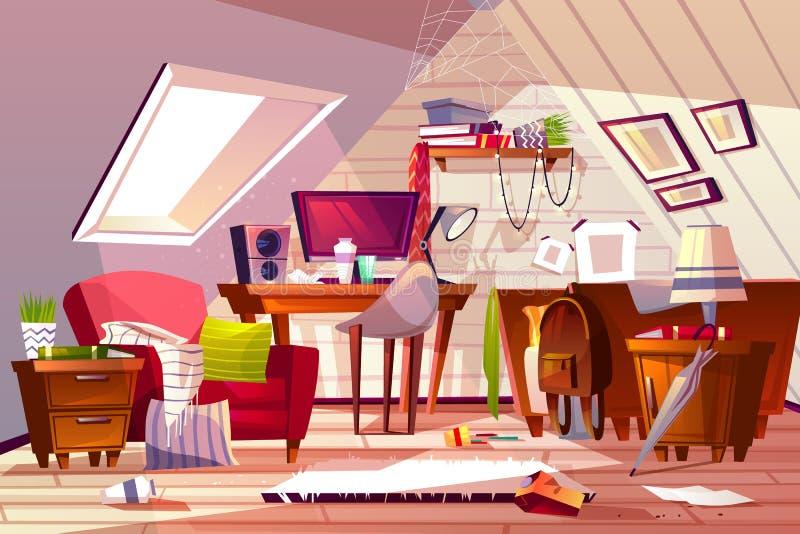 Upaćkany pokój przy mansardy strychową wektorową ilustracją ilustracja wektor