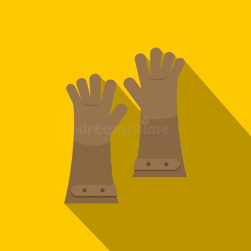 Upał - odporne rękawiczki dla spawalniczej ikony, mieszkanie styl ilustracja wektor