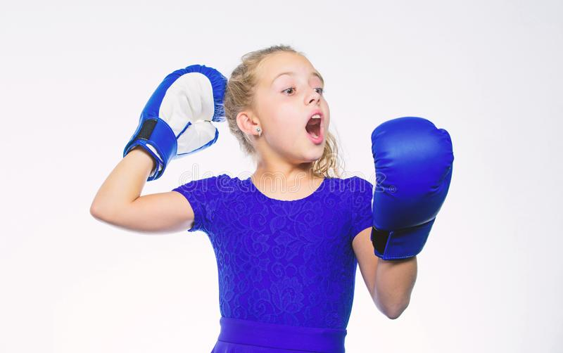 Upbringing for leadership and winner. Strong child boxing. Sport and health concept. Boxing sport for female. Girl child stock images