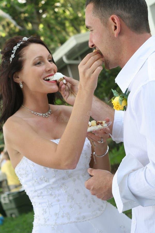 Upclose de alimentação do bolo da noiva e do noivo imagem de stock