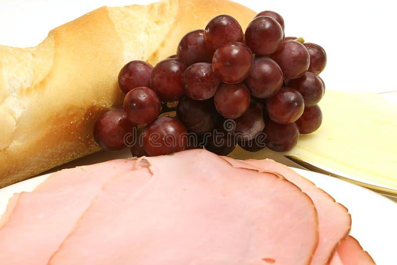 Upclose del bocado del jamón y del queso imagen de archivo
