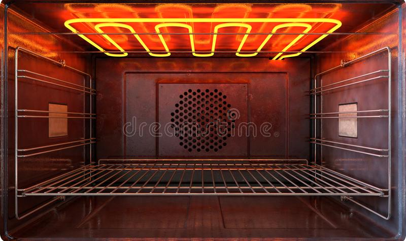Inside The Oven Front. An upclose view through the front of the inside of an empty hot operational household oven with a glowing element and metal rack - 3D vector illustration