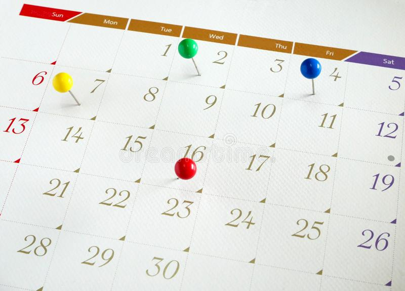 Upcoming events calendar stock images