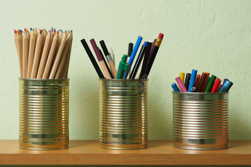 Download Upcycling, Writing Accessories In Tin Can Stock Photo - Image of container, empty: 38856664
