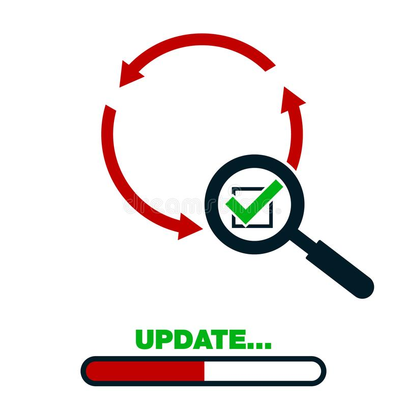Update application progress icon upgrade software loader magnifying vector illustration