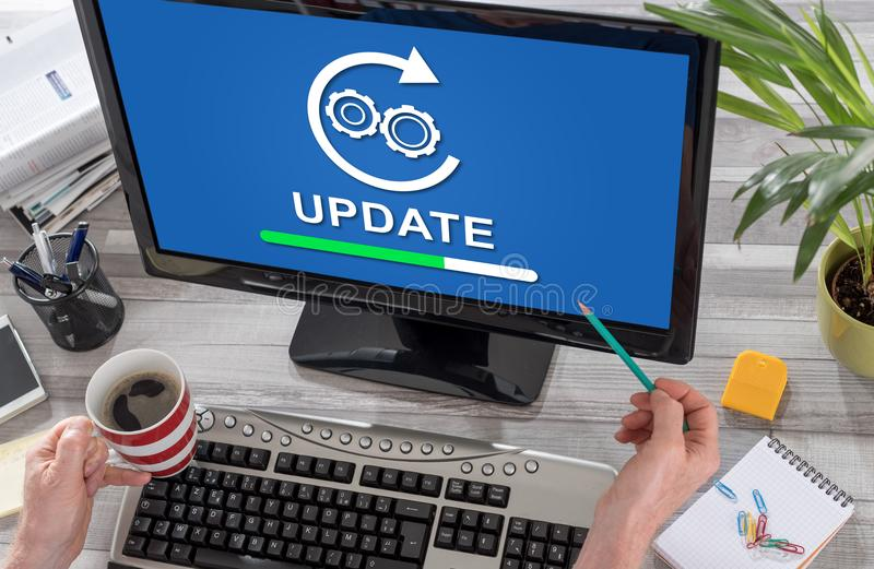 Update concept on a computer royalty free stock photos