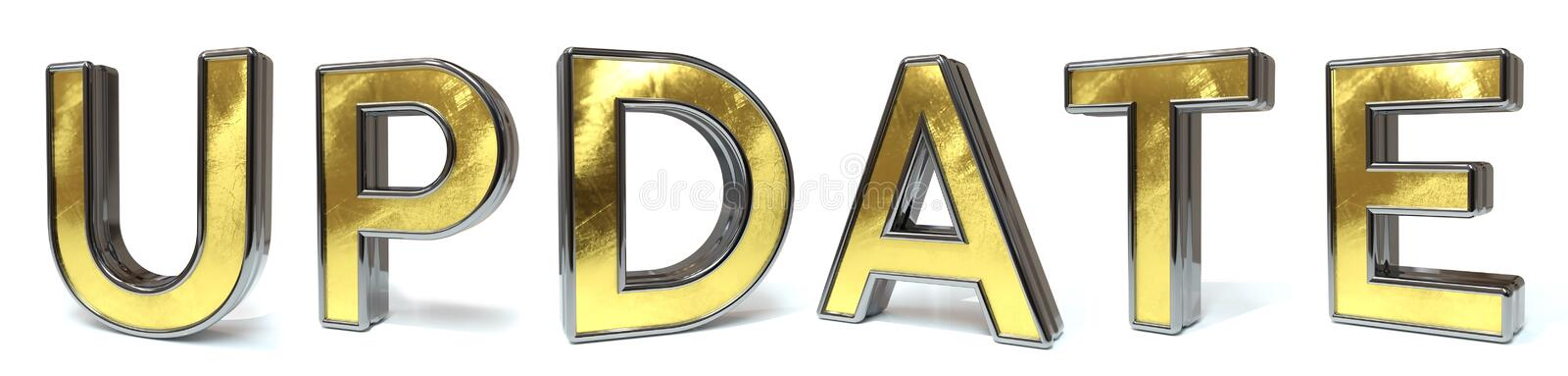 Update golden text. Update 3d rendered gold and silver color text on white stock illustration