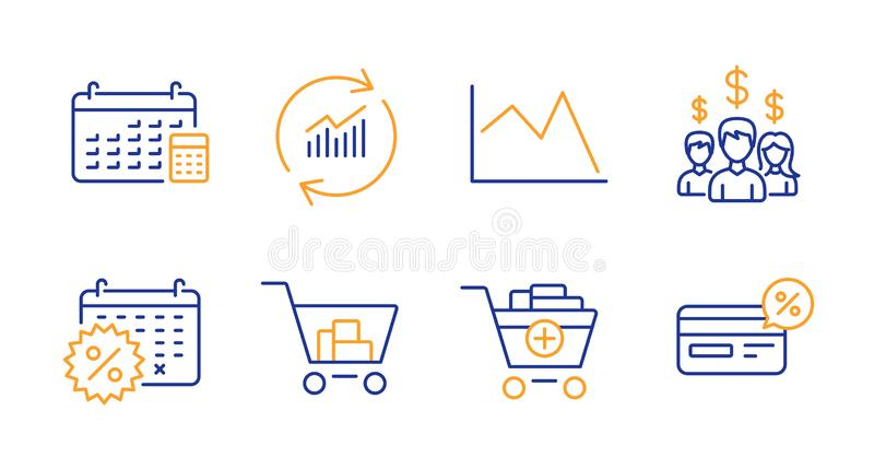 Update data, Calendar discounts and Internet shopping icons set. Vector. Update data, Calendar discounts and Internet shopping line icons set. Line chart, Salary royalty free illustration