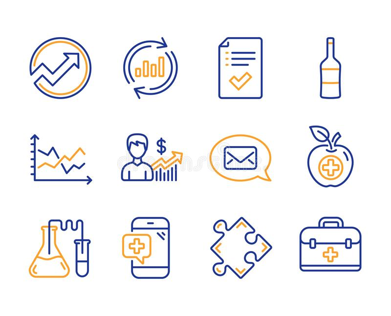 Update data, Medical food and Wine icons set. Medical phone, Strategy and Diagram chart signs. Vector stock illustration