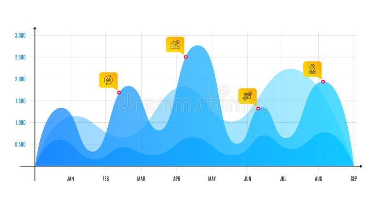 Update data, Refresh website and Decreasing graph icons set. Location sign. Vector. Update data, Refresh website and Decreasing graph line icons set. Infographic royalty free illustration