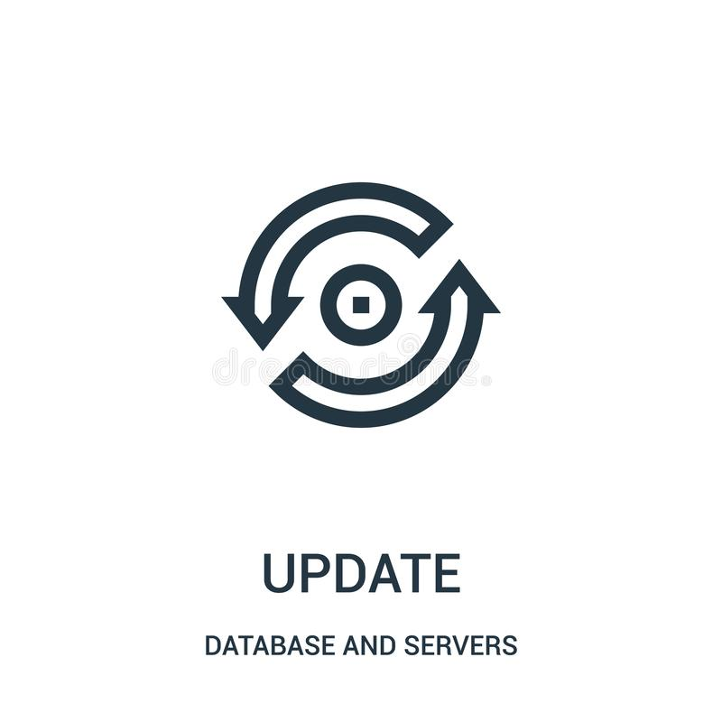 update icon vector from database and servers collection. Thin line update outline icon vector illustration vector illustration