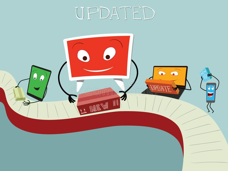 Update for PC, Notebook, tablet and phone. Update for PC, Notebook, tablet and smart phone stock illustration