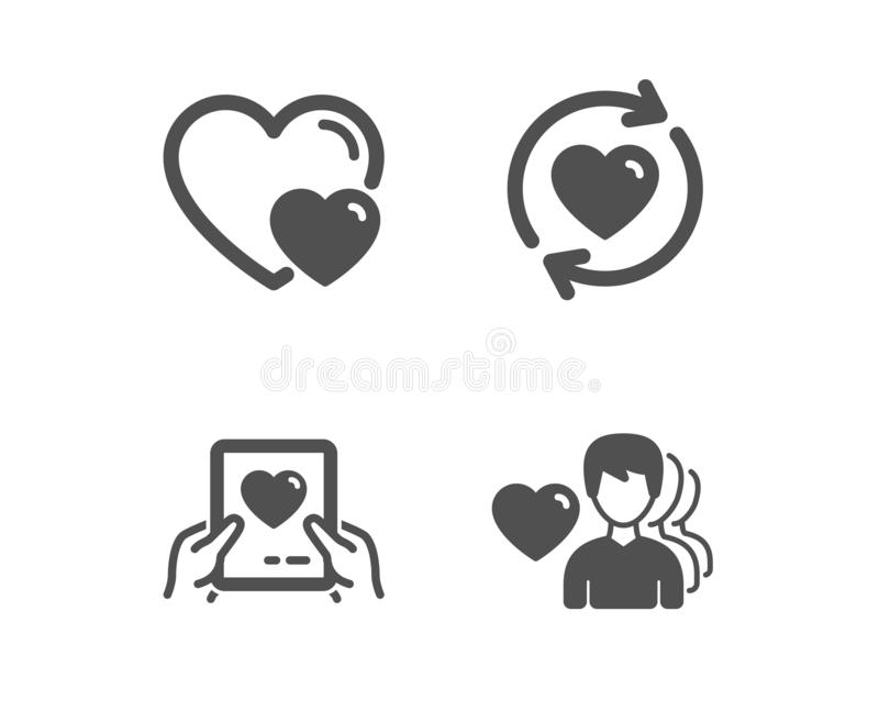 Update relationships, Love mail and Hearts icons. Man love sign. Vector. Set of Update relationships, Love mail and Hearts icons. Man love sign. Valentine letter vector illustration